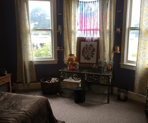 bedroom, curtains, and hippy image