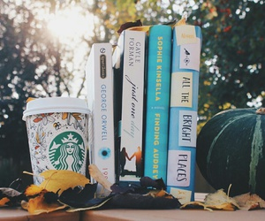 book, autumn, and starbucks image