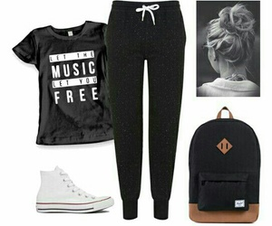 converse, music, and outfit image