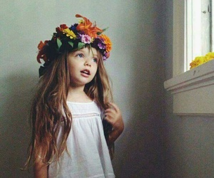 girl, cute, and flowers image