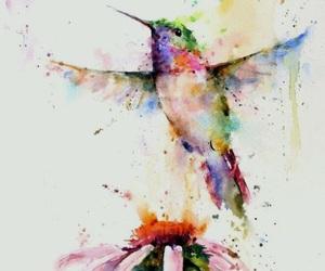 bird, art, and flowers image