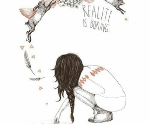 girl, reality, and boring image