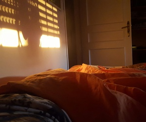 bed, bedroom, and dawn image