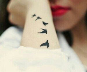 arm, tattoo, and flying birds image