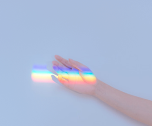 rainbow, hand, and blue image