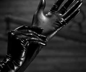 gloves, latex, and black image