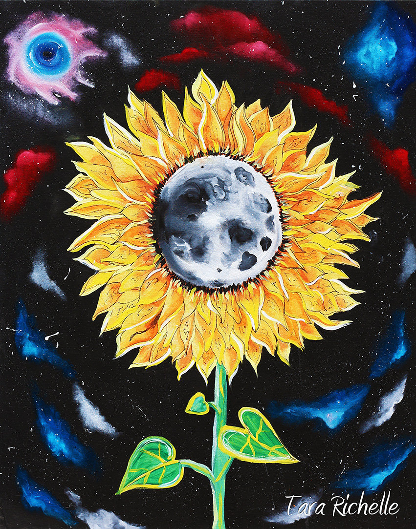 Moonflowers, sunflower painting, moon, space, galaxies, stars, wall ...