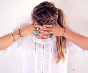 bracelets, braided hair, and girl image