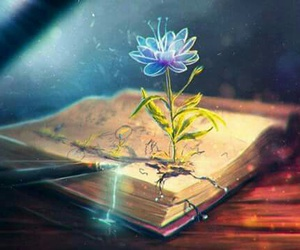 flower, book, and art image