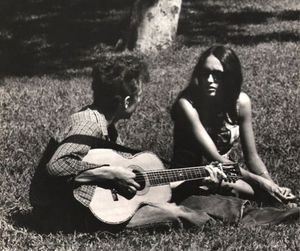 black and white, bob dylan, and joan baez image