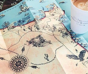 adventure, map, and coffee image