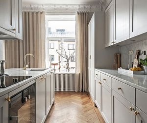 gold, grey, and kitchen image