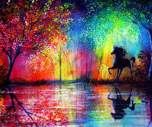 horse, rainbow, and art image