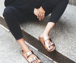 birkenstock, girl, and shoes image