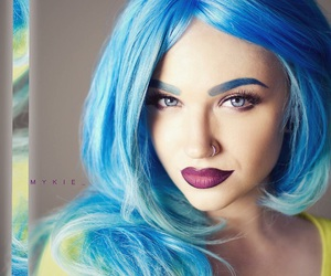 blue eyes, blue hair, and nose piercing image