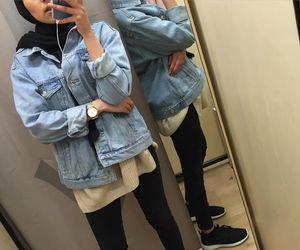 jacket, jeans, and hijab fashion image