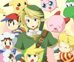 kirby, link, and pikachu image