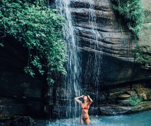 summer, girl, and waterfall image