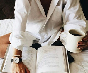 book, coffee, and white image