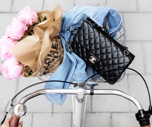 bike, bag, and flowers image