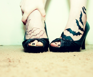 tattoo, shoes, and bats image