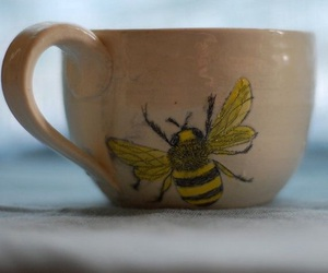 cup, bee, and tea image