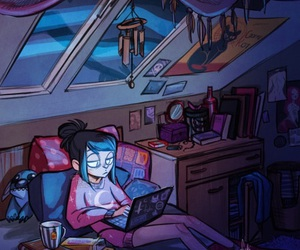girl, art, and night image