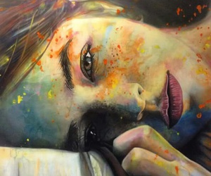 art, girl, and colorful image