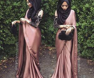 hijab, fashion, and saree image