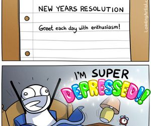depressed, funny, and new year image