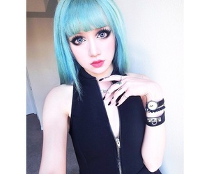 aqua, hair, and pale image