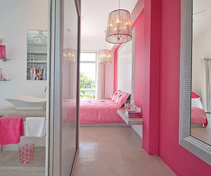 house, interior design, and pink image