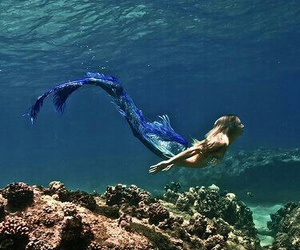 girl, mermaid, and water image