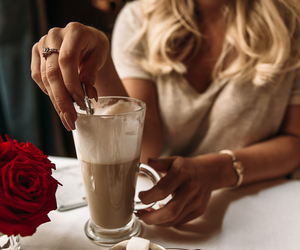 blonde, fashion, and coffee image