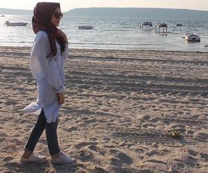 beach, hijab, and muslim image