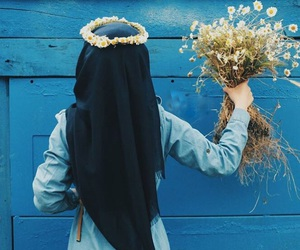 hijab, muslim, and blue image