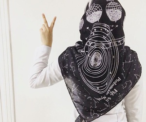 black, hijab, and galaxy image