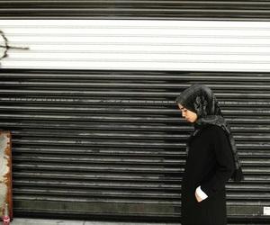 black, blackandwhite, and hijab image