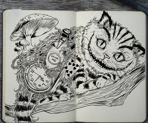 art, cat, and alice in wonderland image