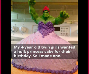 birthday cake, Hulk, and princess cake image