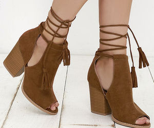 boots, brown boots, and lace-up ankle boots image