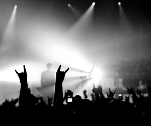 rock, black and white, and concert image