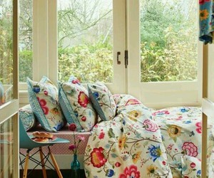bed, comfy, and flowers image