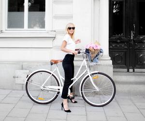 bike, girl, and high heels image