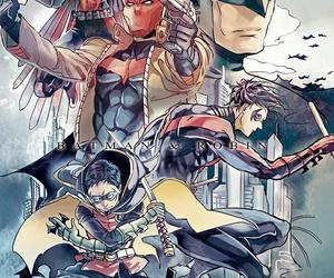 batman, red hood, and robin image
