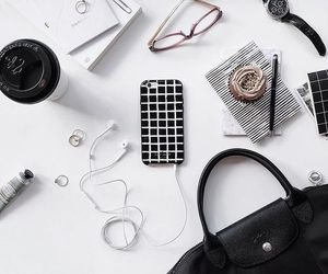 accessories, black and white, and bag image