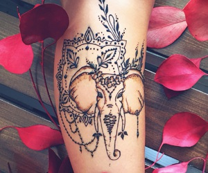beautiful, elephant, and henna image