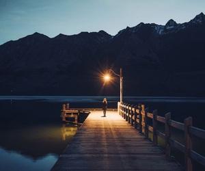 mountains, lake, and light image