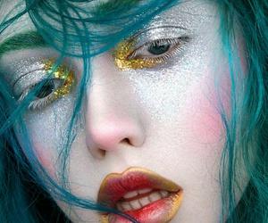 glitter, makeup, and mermaid image