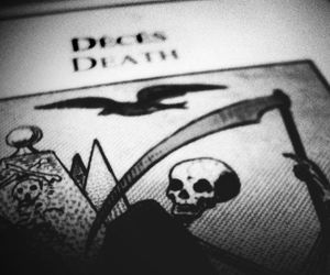 death, black and white, and dark image